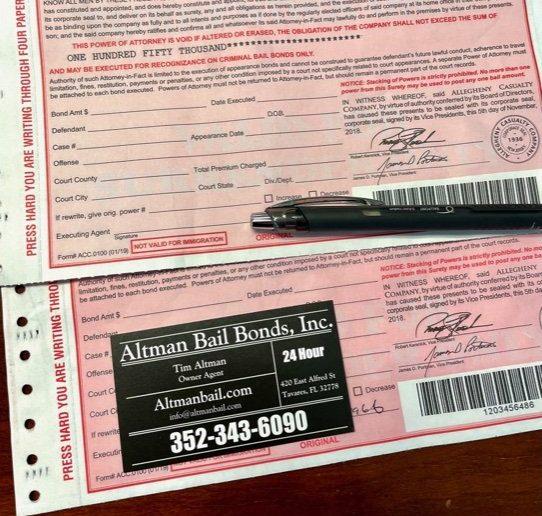bail bonds paperwork